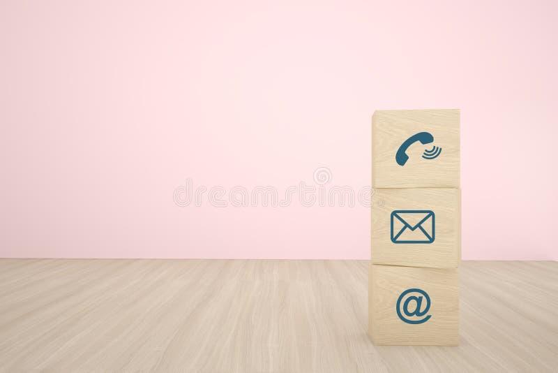 Tre träkubkvarter som staplar med kontaktsymbolen som i rad ordnar på träbakgrund Begrepp av affärsstrategi och handling pl arkivbild