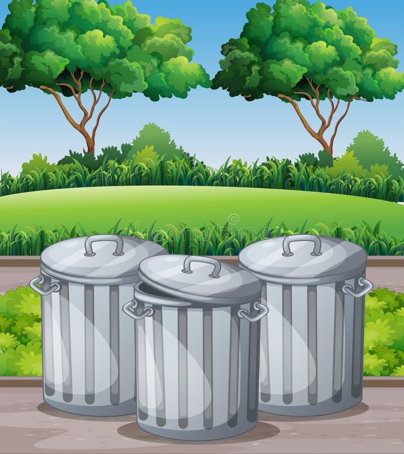 Download Tre trashcans i parkera vektor illustrationer. Illustration av avfalls - 78732084