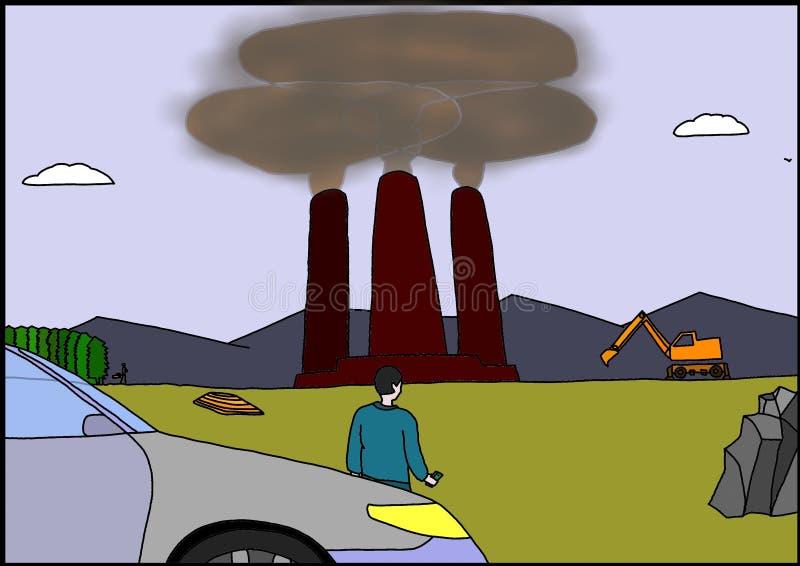 Tre trattar med rök vektor illustrationer