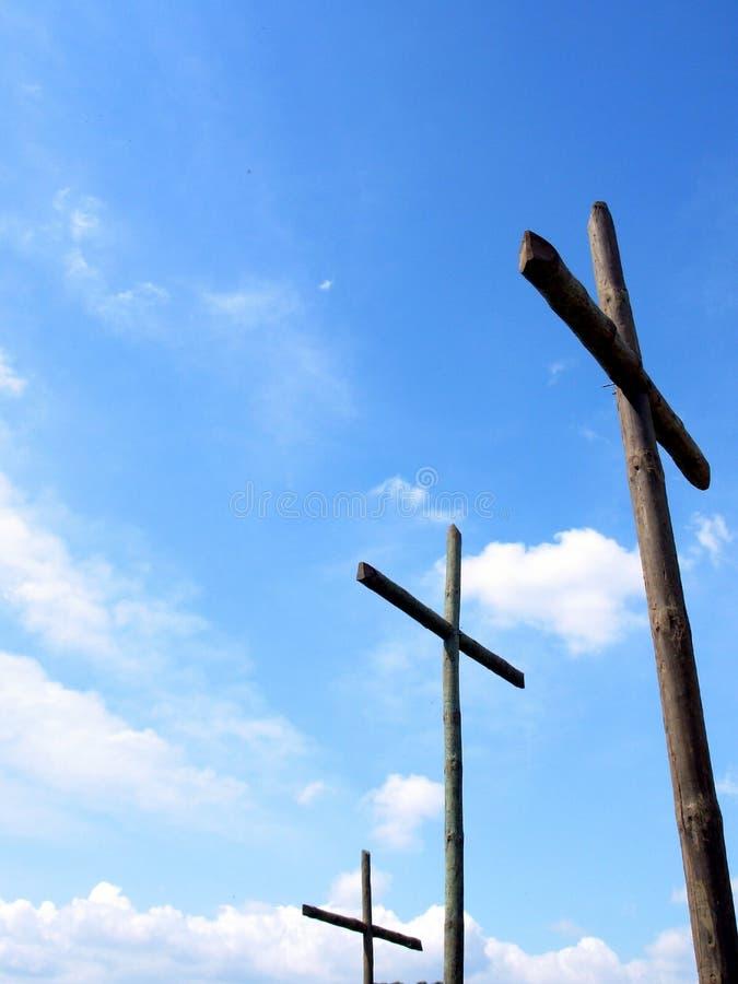 Tre traverse di legno immagini stock