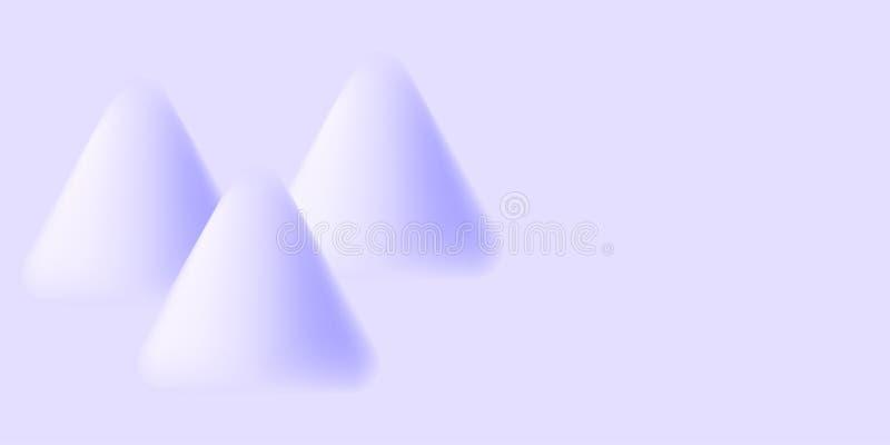 Tre triangulära former texturerar suddigt Frostig friskhet Sn?r?kning royaltyfri illustrationer