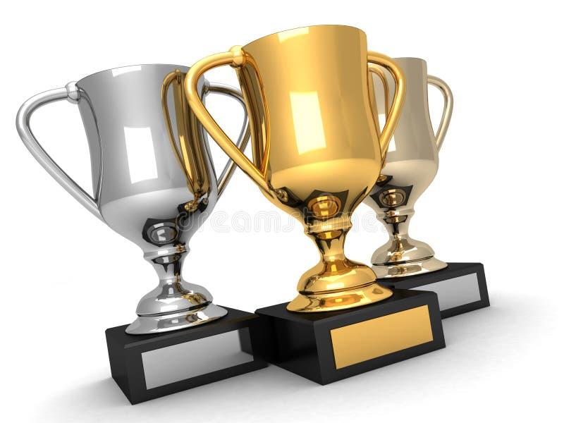 Tre troféer, guld, silver och brons stock illustrationer