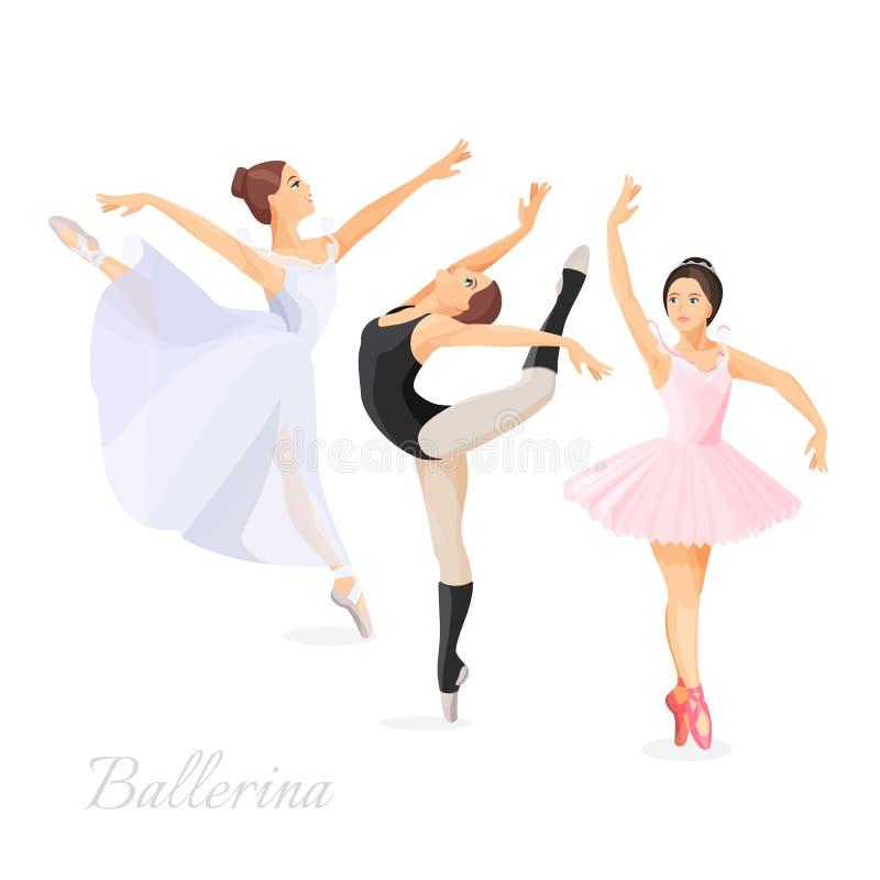 Tre unga balettdansörer som in står, poserar framlänges design stock illustrationer