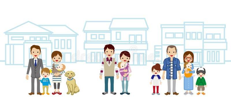 Tre unga familjer och hus vektor illustrationer