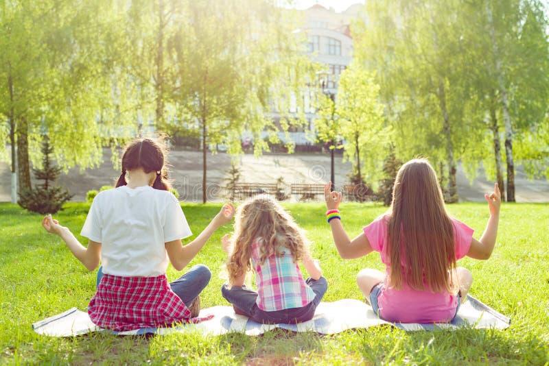 Tre unga flickor som gör yoga, poserar utomhus-, yoga på solnedgången i parkera, baksidasikt royaltyfri bild