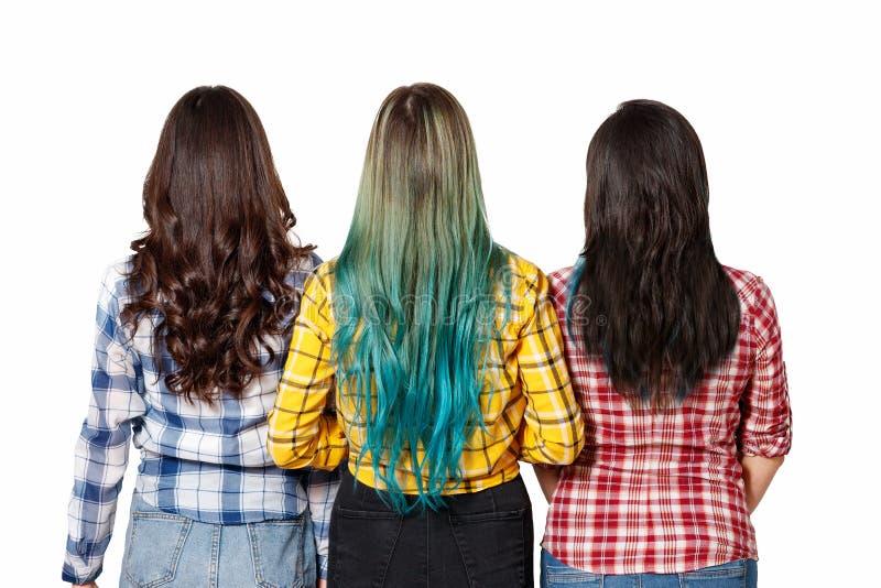 Tre unga härliga kvinnaflickor med den härliga långa hårställningen bredvid sikten från baksidan bakgrund isolerad white arkivfoto