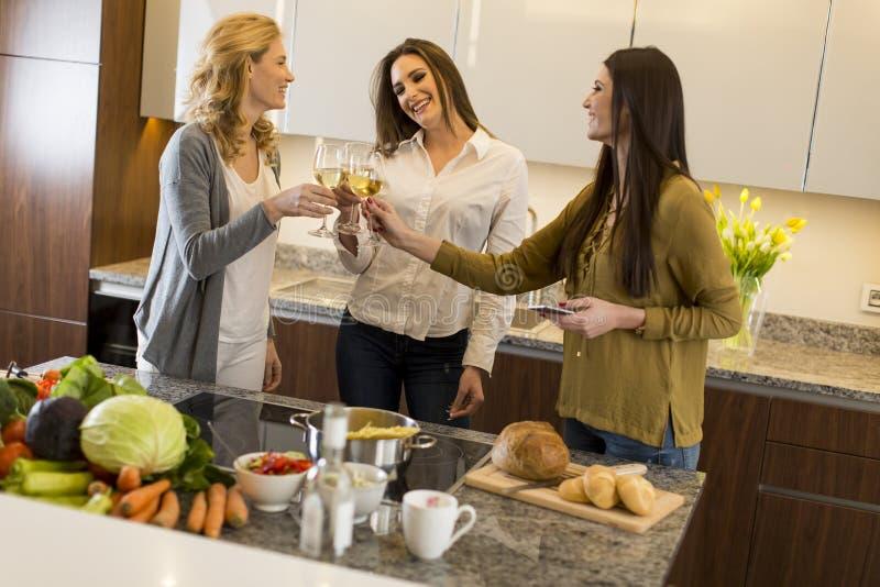 Tre unga kvinnor som rostar med vin royaltyfri fotografi
