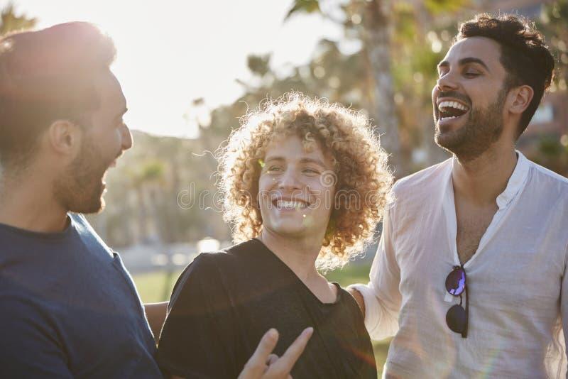 Tre unga män som tillsammans står att skratta för yttersida royaltyfria bilder