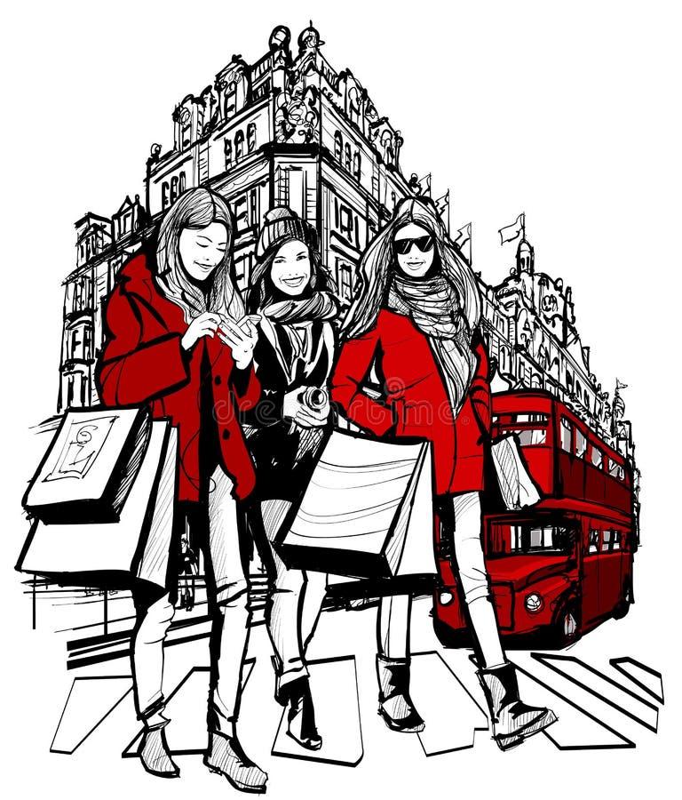 Tre unga trendiga kvinnor som shoppar i London royaltyfri illustrationer