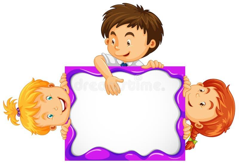 Tre ungar bak det vita brädet stock illustrationer