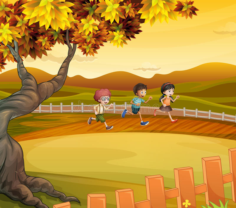 Tre ungar som kör längs fältet royaltyfri illustrationer
