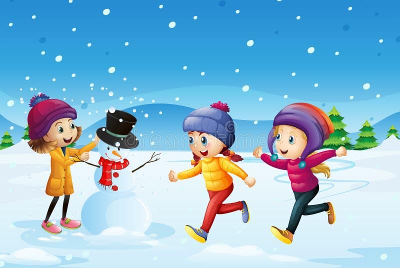 Tre ungar som spelar snögubben i snöfältet stock illustrationer