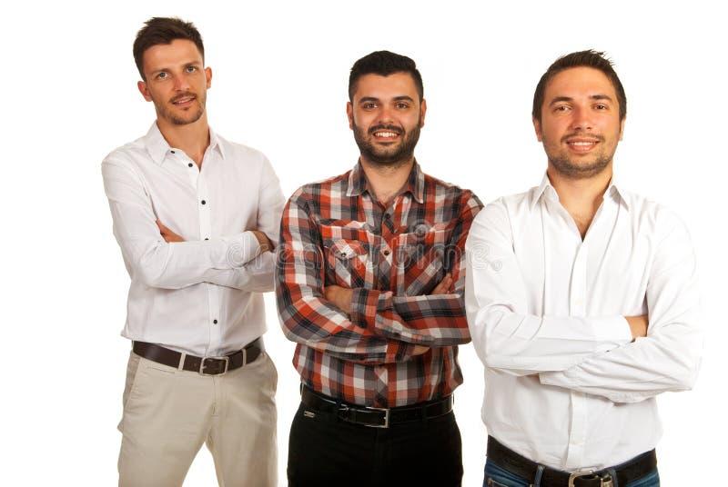 Tre uomini casuali felici di affari immagini stock libere da diritti