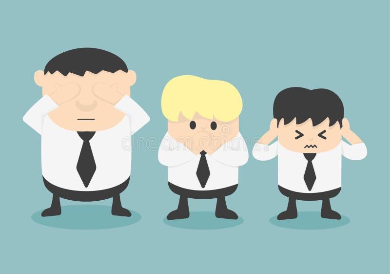 Tre uomini d'affari non vedono la malvagità, non sentono la malvagità, non parlano la malvagità illustrazione di stock