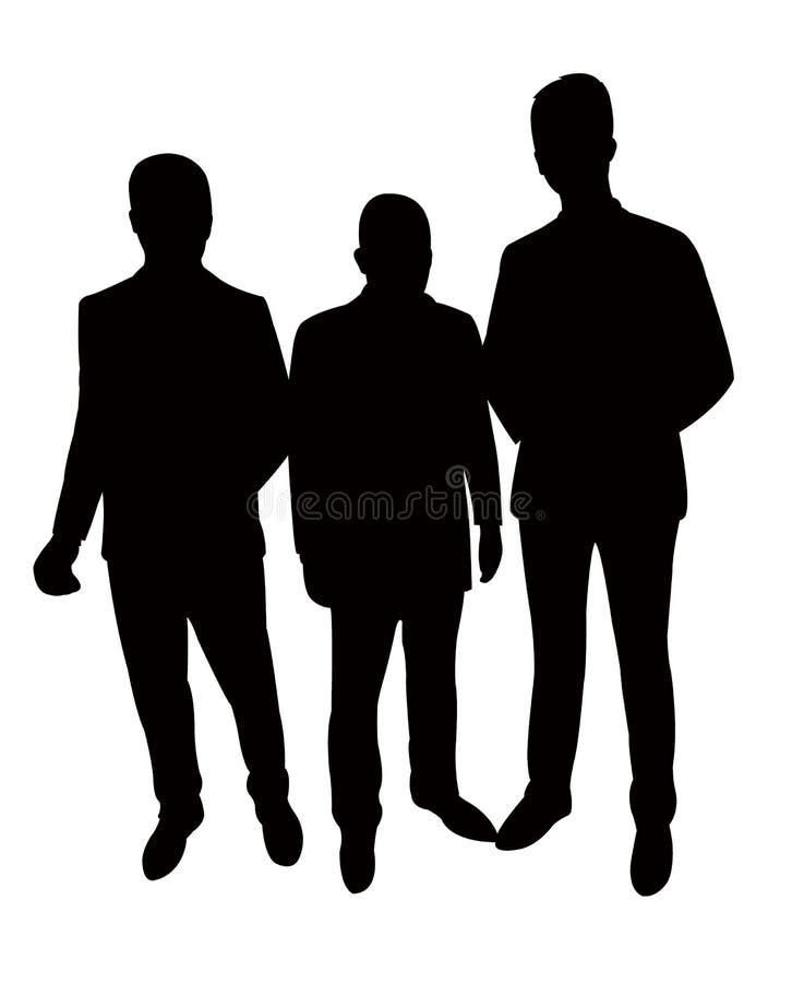 Tre uomini insieme, vettore della siluetta illustrazione vettoriale