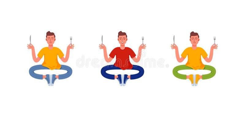 Tre uomini sottili si siedono con una forcella e un coltello in loro mani Metta degli uomini affamati Illustrazione di vettore royalty illustrazione gratis