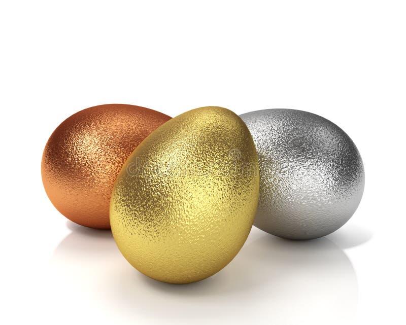 Tre uova di Pasqua Illustrazione dorata, d'argento e bronzea 3D illustrazione di stock