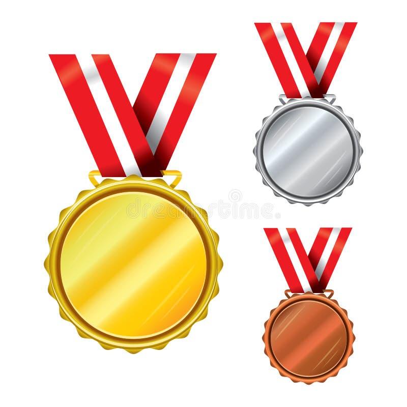 Tre utmärkelsemedaljer - guld, silver, brons vektor illustrationer