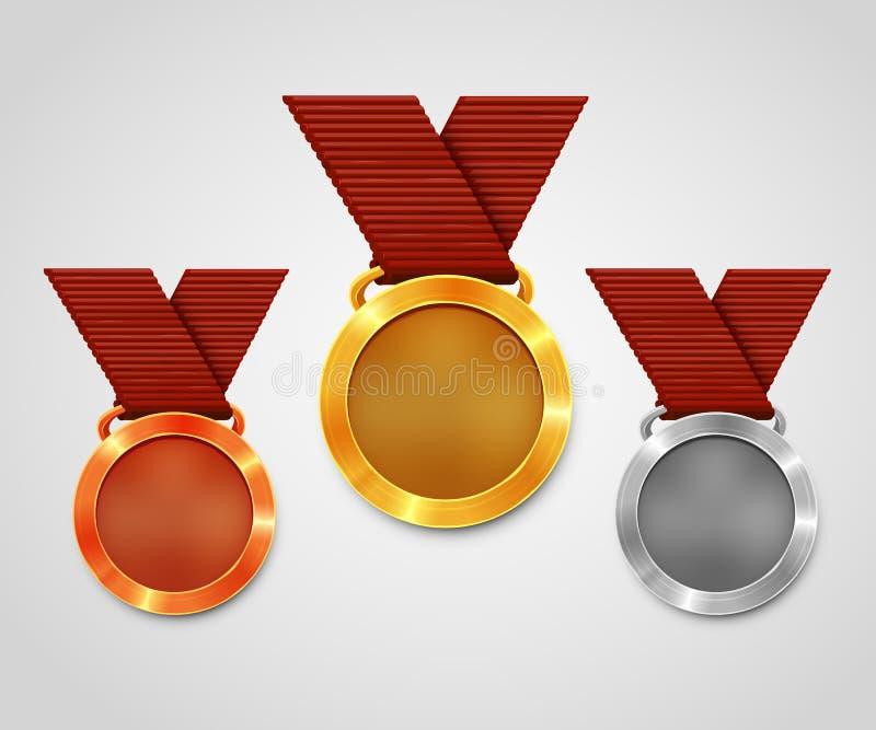 Tre utmärkelsemedaljer med band Guldmedalj Silvermedalj Bronsmedalj Mästerskaputmärkelse royaltyfri illustrationer