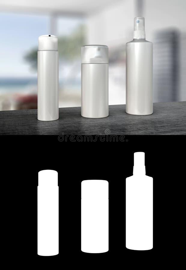 Tre utmatareflaskor eller pumpsprejflaskor vektor illustrationer