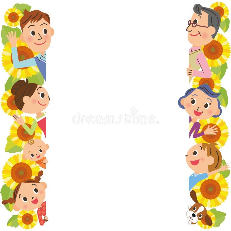 Tre-utveckling familj och solros stock illustrationer