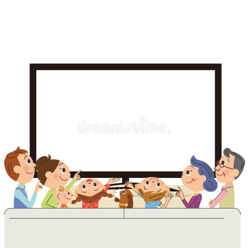 Tre-utveckling familj som ser TV royaltyfri illustrationer