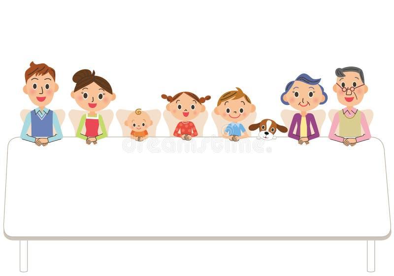 Tre-utveckling familj som sitter ner på en tabell stock illustrationer