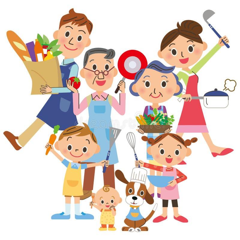 tre-utveckling familj som tycker om att laga mat royaltyfri illustrationer