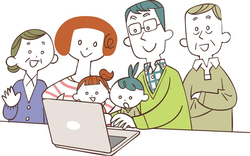 Tre utvecklingsfamiljer som håller ögonen på persondatorer vektor illustrationer
