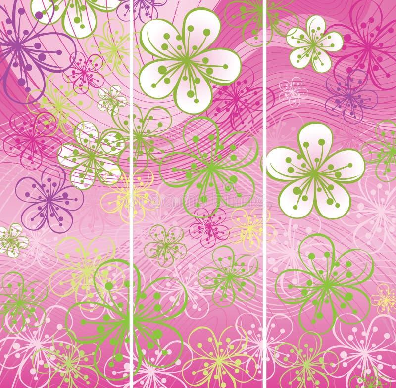 Tre vårbaner. Blommor gör sammandrag bakgrund royaltyfri illustrationer