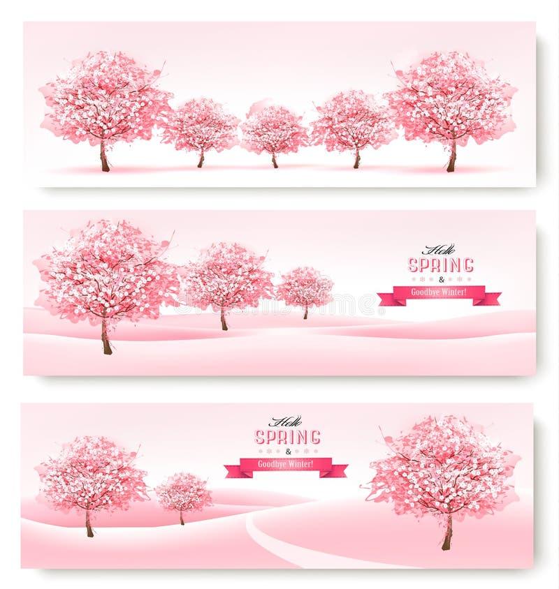 Tre vårbaner med rosa träd för körsbärsröd blomning stock illustrationer
