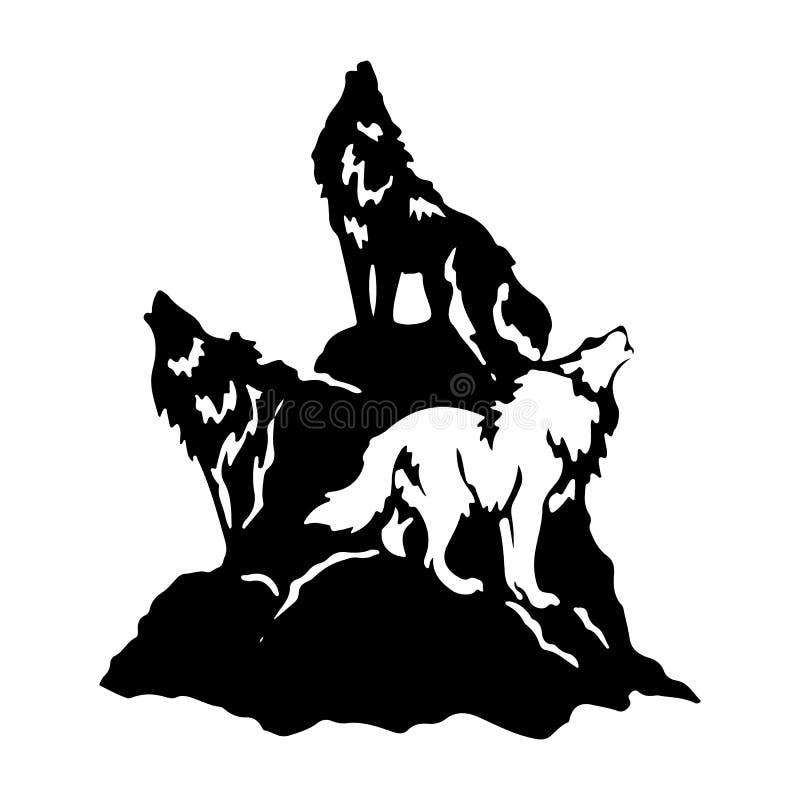 Tre varger på en kulle som tjuter, kontur på en vit bakgrund royaltyfri illustrationer