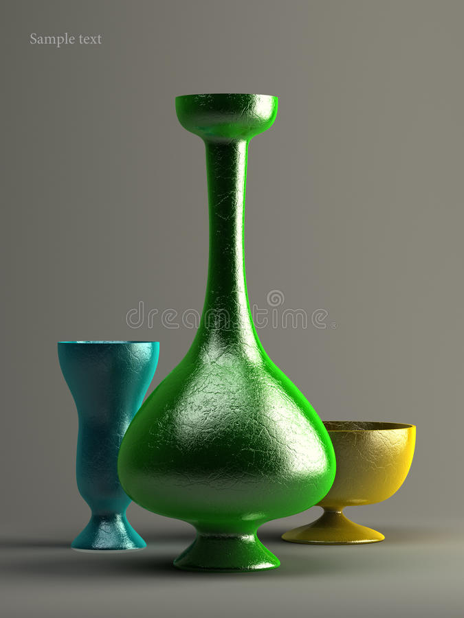 tre vases arkivbild