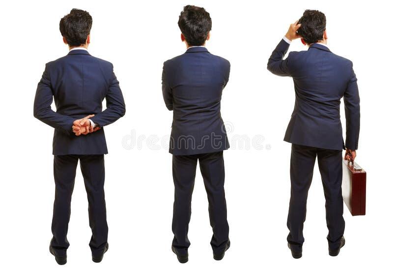 Tre versioner av affärsmannen bakifrån arkivfoton