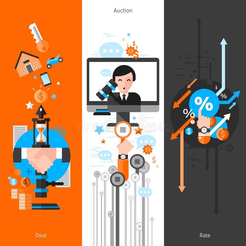 Tre vertikala auktionbaner stock illustrationer