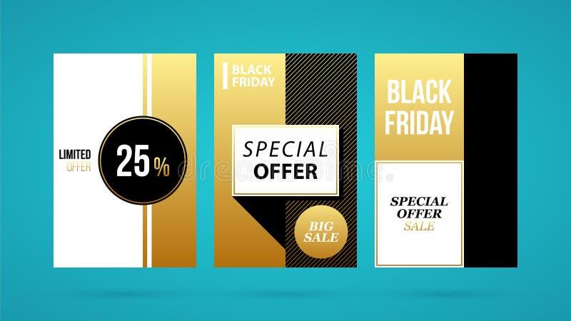 Tre vertikala Black Friday baner/affischer i guld- stil vektor illustrationer