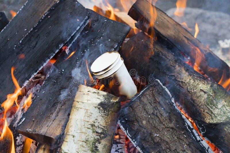 Tre vetri di carta che bruciano in un falò di legno fotografia stock libera da diritti