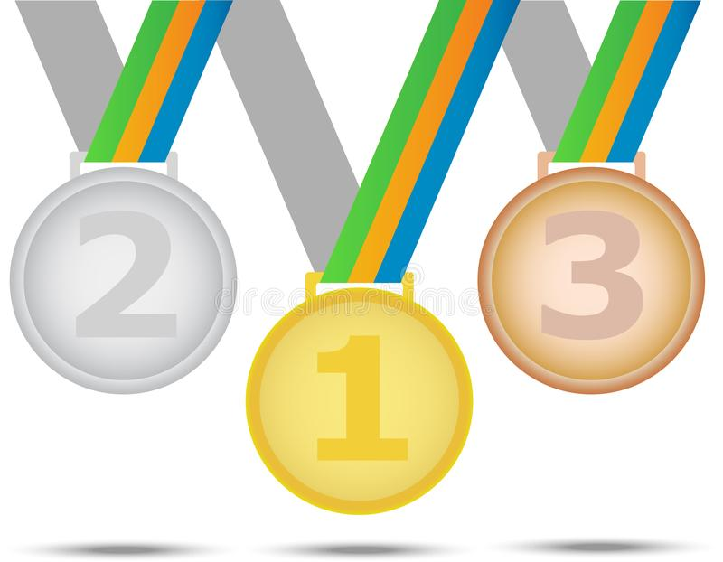Tre vinnaremedaljer - från guld- silver och brons white för bakgrundsfingeravtryckillustration royaltyfri illustrationer