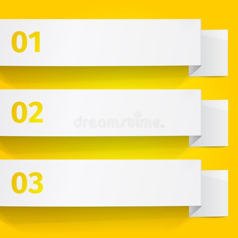 Tre vita ark av papper på en gul bakgrund Origamivektorbaner royaltyfri illustrationer