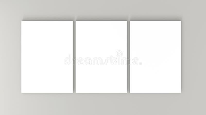 Tre vita ark för papper A4 på grå bakgrund Kickupplösning 3D framför Personlig brännmärka modellmall vektor illustrationer