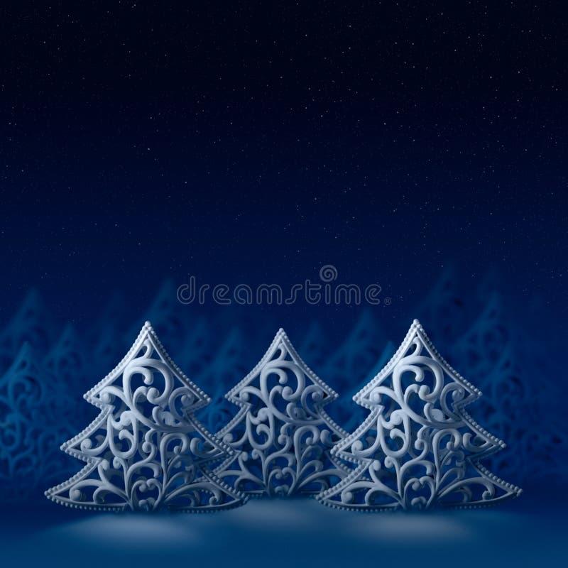 Tre vita julgranar arkivfoton