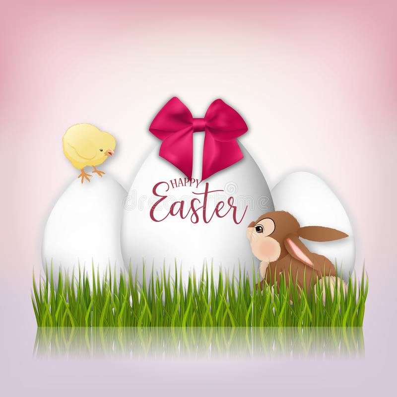 Tre vita påskägg, kanin och guling blir rädd bakgrund färgade vektorn för tulpan för formatet för easter ägg eps8 den röda vektor illustrationer