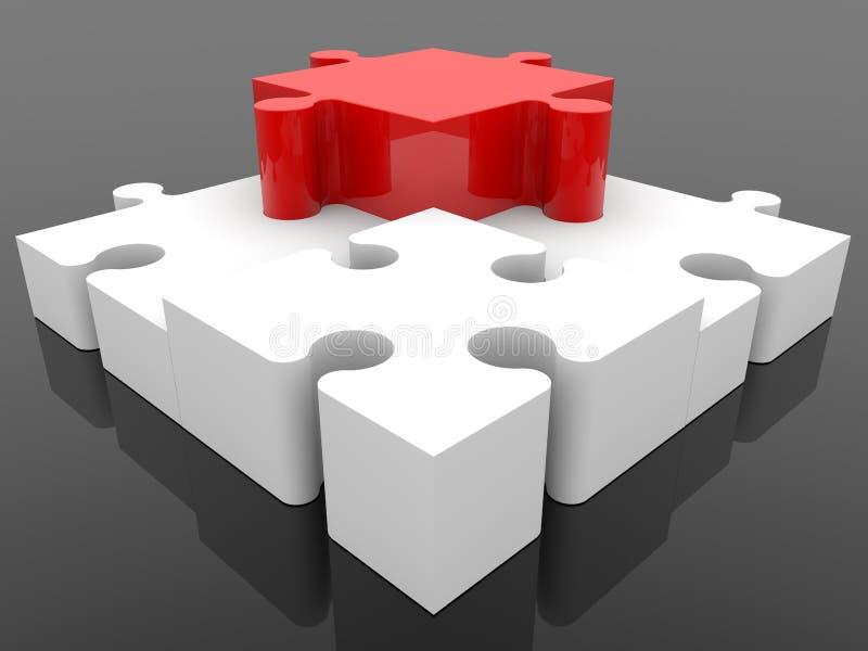 Tre vita pusselstycken omringar ett rött stycke stock illustrationer
