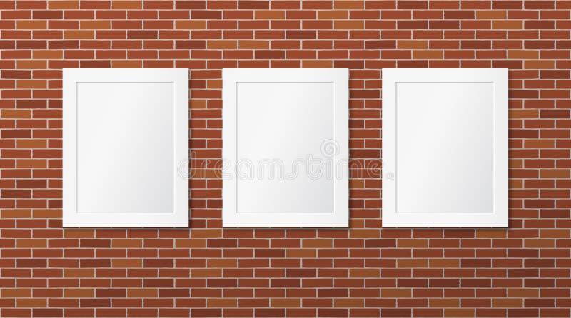 Tre vita ramar p stock illustrationer