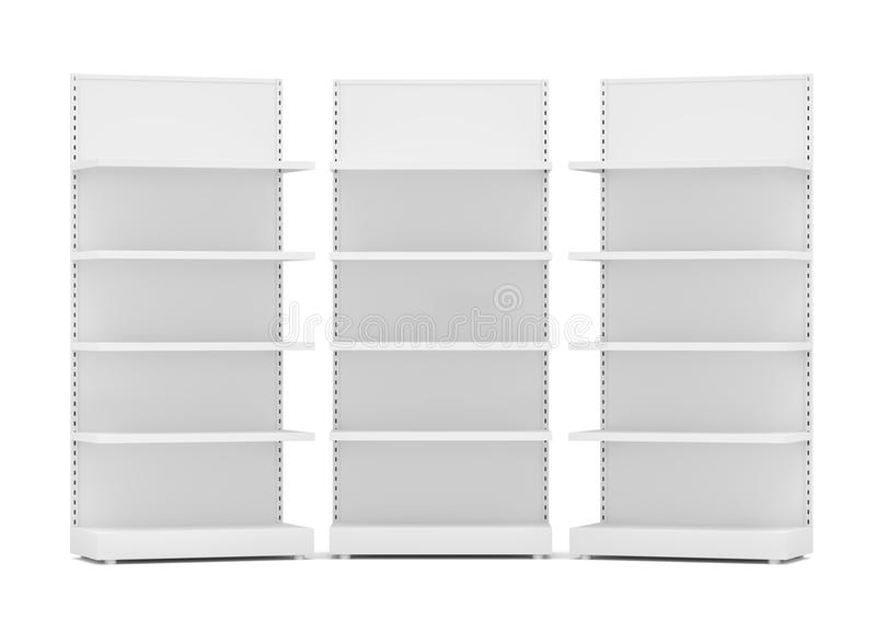 Tre vita tomma detaljhandelhyllor royaltyfri illustrationer