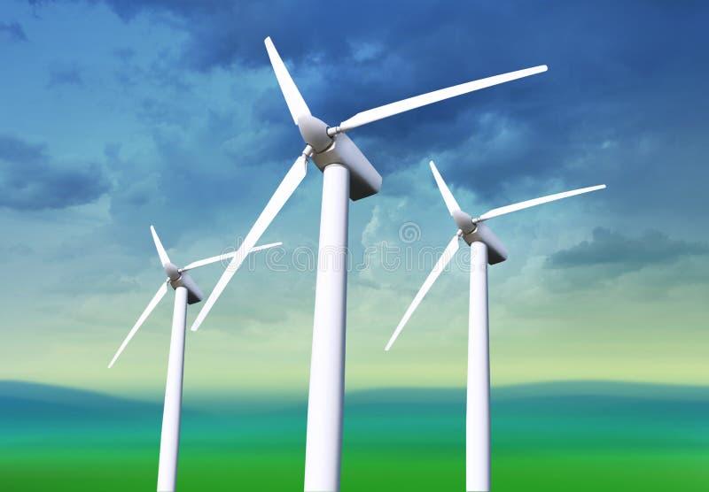 Tre vita windturbiner royaltyfri bild
