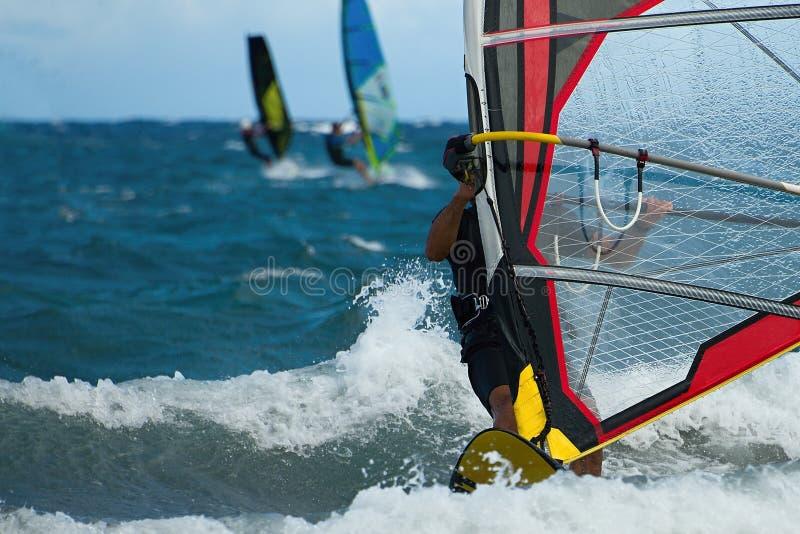 Tre windsurfers nell'azione immagine stock
