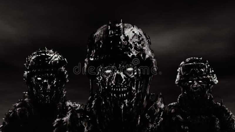 Tre zombie dei soldati in caschi stanno contro un cielo scuro Colore in bianco e nero illustrazione vettoriale