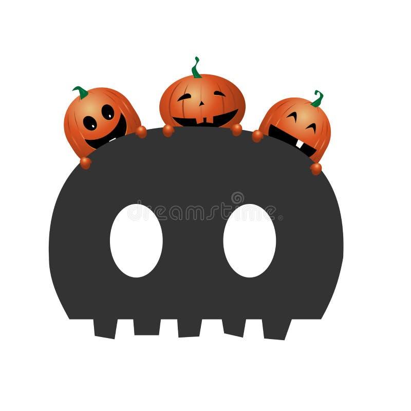 Tre zucche arancio divertenti sul cranio spaventoso royalty illustrazione gratis