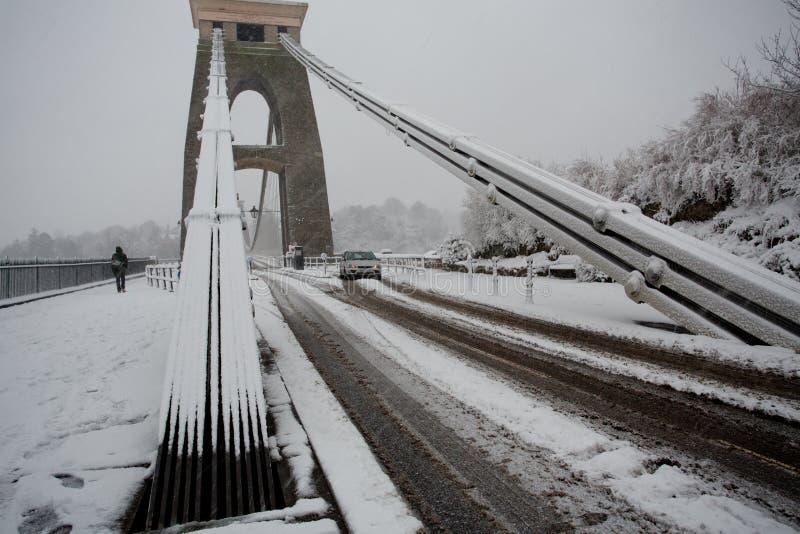 Treacherous conditions crossing Clifton Suspension bridge in the